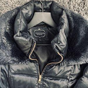 1 Madison Lux Faux Fur Cuff Down Coat Sz L